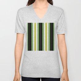 Mint Green, Mustard, Black & White Striped Pattern Unisex V-Neck