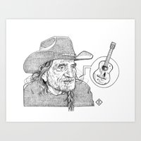 Willie Nelson Illustration Art Print