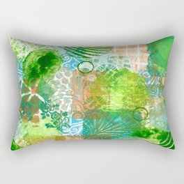 Patchwork in green and bronze  Rectangular Pillow