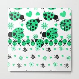 Cute Ladybugs green Metal Print
