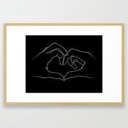 line art heart hands Framed Art Print