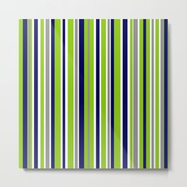 Lime Green Bright Navy Blue Gray and White Vertical Stripes Pattern Metal Print