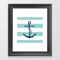 Navy Blue and Mint Anchor and Stripes Framed Art Print