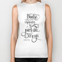 "stephen king Biker Tanks featuring ""Books are a uniquely portable magic."" - Stephen King by Ketina"