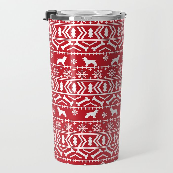 Cocker Spaniel fair isle christmas pattern dog breed holiday gifts red and white Travel Mug