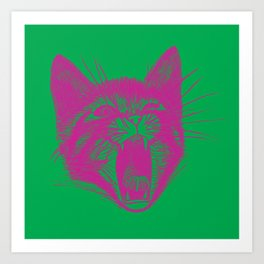 Cat Scream green/pink Art Print