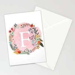 Flower Wreath with Personalized Monogram Initial Letter F on Pink Watercolor Paper Texture Artwork Stationery Cards