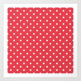Coral Orangey-Red with White Polka Dots Art Print