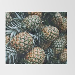 Tropical Pineapples Throw Blanket