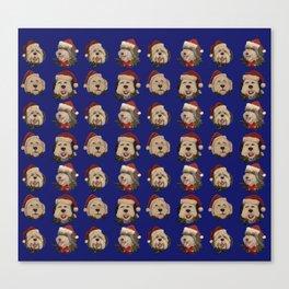 Santa Sheepies Blue Canvas Print