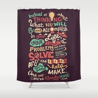 risa rodil Shower Curtains featuring Solving Problems, Making Things by Risa Rodil