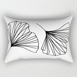 Ginkgo Leaves Minimal Line Art Rectangular Pillow