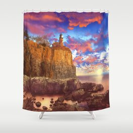 lighthouse landscape Shower Curtain