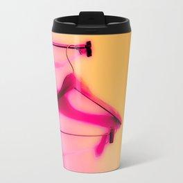 wood hanger with pink and orange background Travel Mug