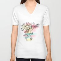 decorative V-neck T-shirts featuring Decorative Floral by famenxt