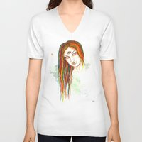 jesus V-neck T-shirts featuring Jesus by MsSophieArt