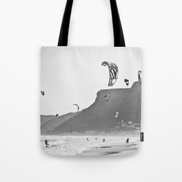 Windsurfers having fun on the Atlantic Ocean - Landscape Photography #Society6 Tote Bag