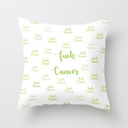 F Cancer Lime Throw Pillow