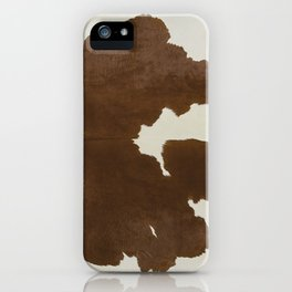 Dark Brown & White Cow Hide iPhone Case