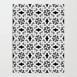 black and white -  Oriental design - orient  pattern - arabic style geometric mosaic Poster