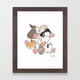 Hearts and bunnies Framed Art Print