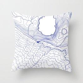 Secret places II - handmade blue map Throw Pillow