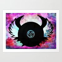 Vinyl Record with Wings - Retro Music DJ Art Art Print