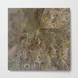 Feather Scroll  Pattern Design Metal Print