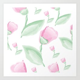 Tulips - pink and green Art Print