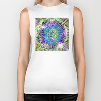 tie dye Biker Tanks featuring Abstract Colorful Tie Dye by Phil Perkins