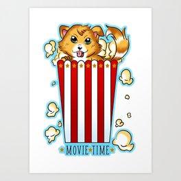 A doggie movie night Art Print