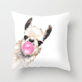 Bubble Gum Sneaky Llama Throw Pillow