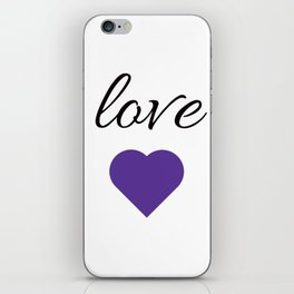 LOVE purple heart iPhone Skin