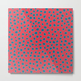 Polka Dots, Spots - Red Turquoise Teal Metal Print