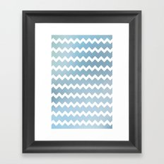 Blue Water Chevron Framed Art Print
