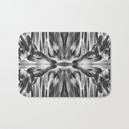 277 - Black & White Abstract Flower design Bath Mat