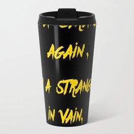 I'm a stranger Yellow on Black Writing Travel Mug