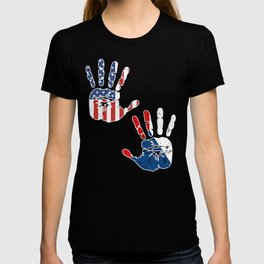 USA Czech Republic Handprint & Flag | Proud Czech American Heritage, Biracial American Roots, T-shirt