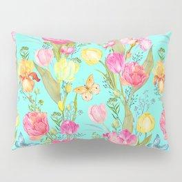 Tulips, Irises, and Butterflies Floral Pattern On Aqua Pillow Sham