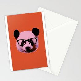 Panda with Nerd Glasses in Orange Stationery Cards