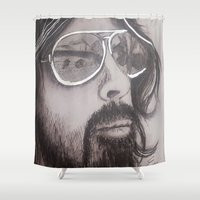 dave grohl Shower Curtains featuring Dave Grohl by Erin Michal