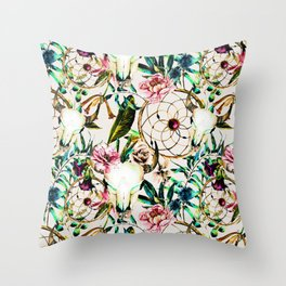 Bohemian Skull Pattern Flowery Vibrant Colors Throw Pillow