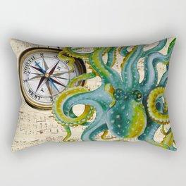 Octopus Compass Green Music Collage Rectangular Pillow
