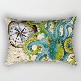 Octopus Compass Green Music Collage Rectangular Pillow