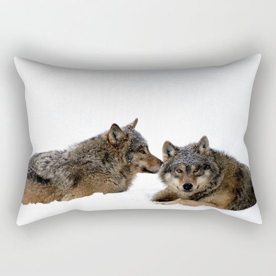 Wolves In the Snow Rectangular Pillow
