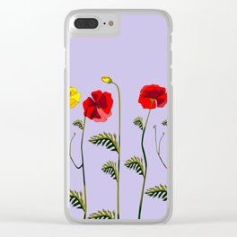 A Garden of Red and Yellow Poppies Clear iPhone Case