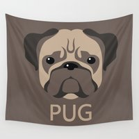 pug Wall Tapestries featuring Pug by Jude Beavis