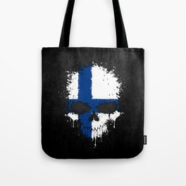 Flag of Finland on a Chaotic Splatter Skull Tote Bag