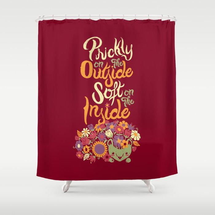 Prickly On The Outside Soft Inside Hedgehog Flower Shower Curtain