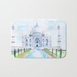Taj Mahal watercolor Bath Mat